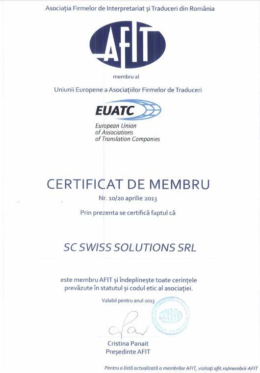 AFIT EUATC Certificate