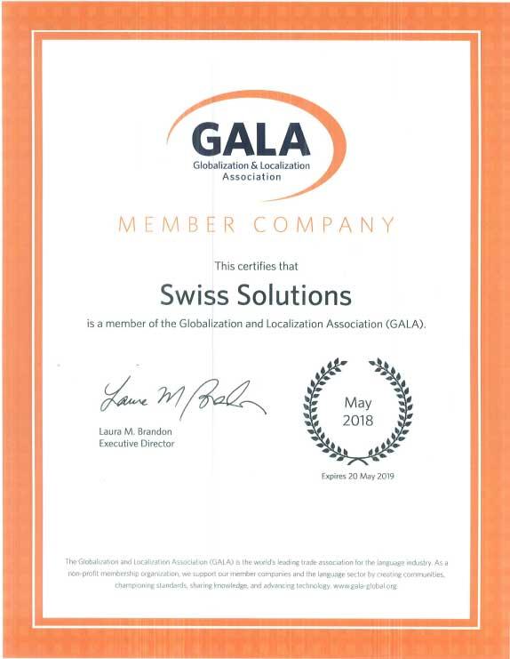 GALA Certificate